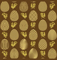 seamless pattern with abstract eggs and roosters vector image