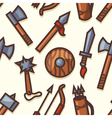 Seamless pattern with medieval weapons icons vector image vector image