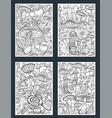 set mushrooms coloring antistress book page vector image vector image