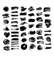 set of 52 black ink hand drawing brushes vector image