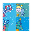 set of christmas cartoons vector image vector image