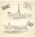 set of city sketching on vintage background paris vector image