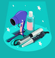 set of hairdressing styling equipment hair dryer vector image
