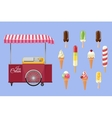 Set of ice-cream icons and ice-cream shopping cart vector image vector image
