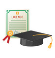 square academic hat with tassel and licence vector image