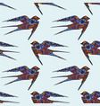 swallow hand drawing seamless pattern on a blue vector image vector image