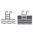 swimming pool line and glyph icon diving vector image vector image