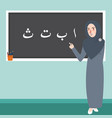 teacher female standing in front of class explain vector image