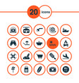 travel icons set with plane landing pointers sea vector image