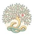 Tree of the knowledge of good and evil with snake vector image