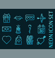 valentine day set icons blue glowing neon style vector image