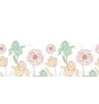 Vintage Flowers Pastel Horizontal Border vector image vector image