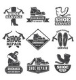 vintage monochrome labels and logos for shoe vector image vector image