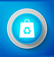 white paper shopping bag with recycle symbol icon vector image vector image