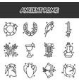 ancient rome cartoon icons set vector image