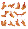 woman hands with namaste mudra on white background vector image
