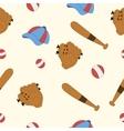 set for baseball glove cap bat game vector image