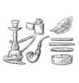 Set of vintage smoking tobacco elements vector image