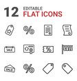 12 discount icons vector image vector image