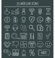 35 linear web design icons Line icons for vector image vector image