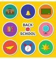 Back to school round icon set Green board bell vector image