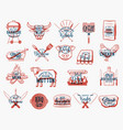 barbecue food charcoal grill and bbq tool icons vector image vector image