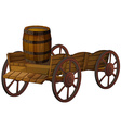 barrel and wagon vector image vector image