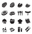 basic steak icons set vector image vector image