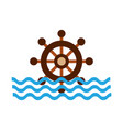 boat timon with sea waves vector image vector image