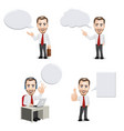 businessman with empty speech bubbles vector image vector image