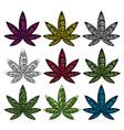 Cannabis Marijuana hemp textured leaf symbol vector image vector image