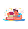 cartoon man reading many books vector image