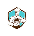 Chef Cook Serving Chicken Platter Shield Retro vector image vector image
