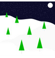 christmas night greating card in flat style vector image