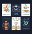 collection marine cards vector image vector image