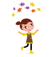cute little autumn girl isolated on white vector image vector image