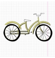 Doodle yellow bicycle excellent vector image vector image