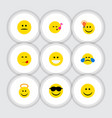 flat icon face set of have an good opinion happy vector image vector image
