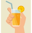 hand hold glass cup glass juicy orange vector image