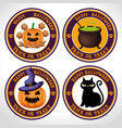 happy halloween card with set icons vector image