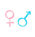 isolated hand draw set female and male sign vector image vector image