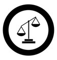 law scale icon black color in circle vector image vector image