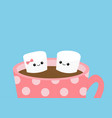 marshmallows with eyes and smiles taking bath mug vector image vector image