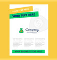 money bag title page design for company profile vector image vector image