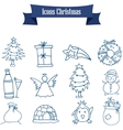 Object of Christmas icons art vector image vector image