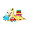 panda and dinosaur toys set vector image vector image