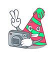 photographer party hat mascot cartoon vector image