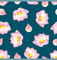 pink indian lotus on green teal background vector image vector image