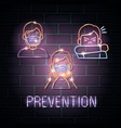 prevention covid19 19 icons neon light vector image vector image