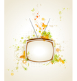 retro tv and floral vector image